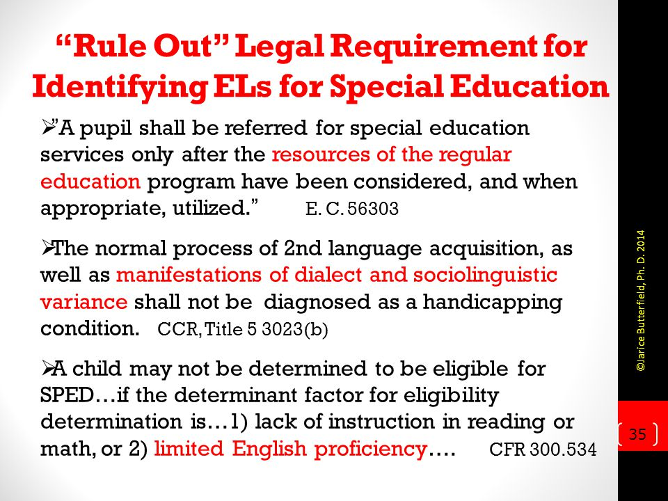 Rule Out Legal Requirement for Identifying ELs for Special Education