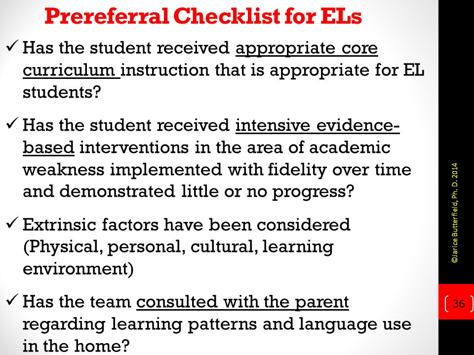 Prereferral Checklist for ELs