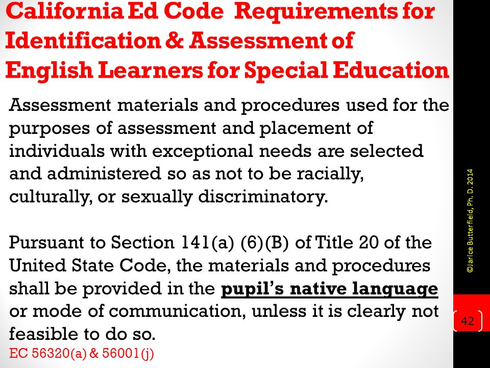 California Ed Code Requirements for Identification & Assessment of English Learners for Special Education