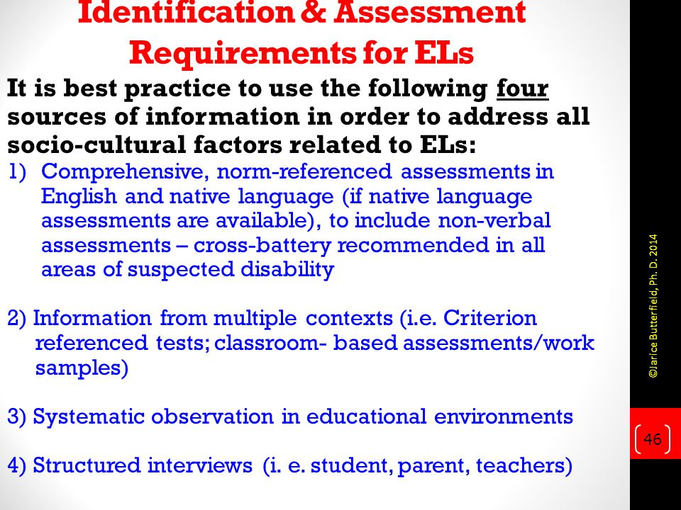 Identification & Assessment Requirements for ELs