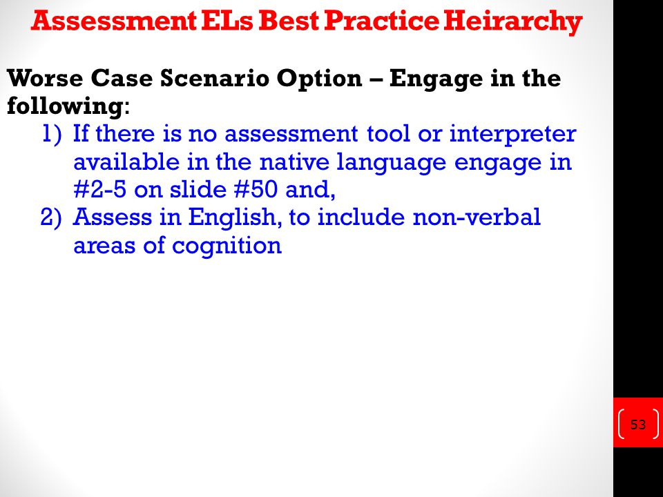 Assessment ELs Best Practice Heirarchy