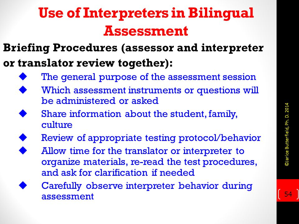 Use of Interpreters in Bilingual Assessment