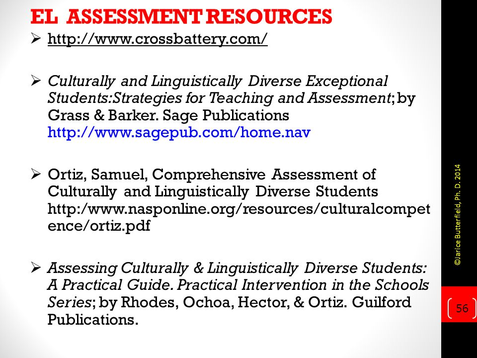 EL ASSESSMENT RESOURCES
