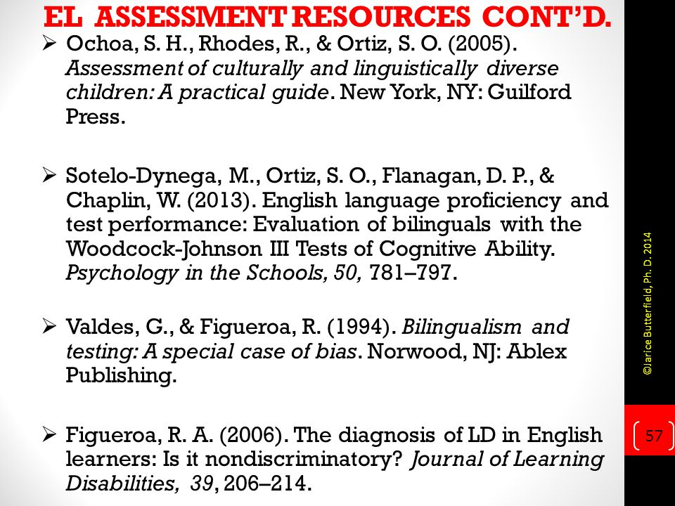 EL ASSESSMENT RESOURCES CONT'D.