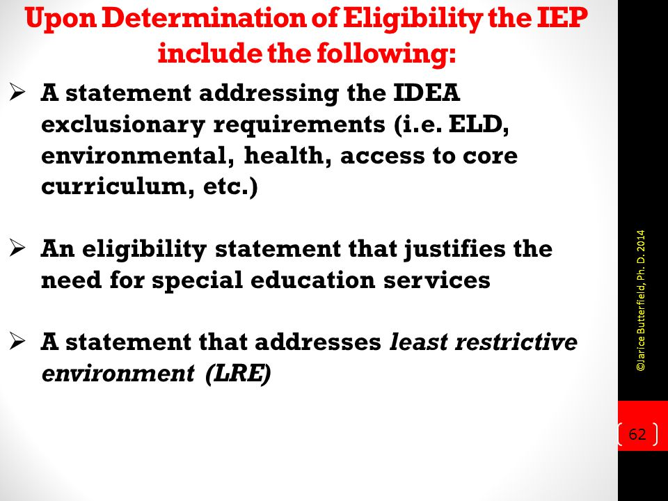 Upon Determination of Eligibility the IEP include the following: