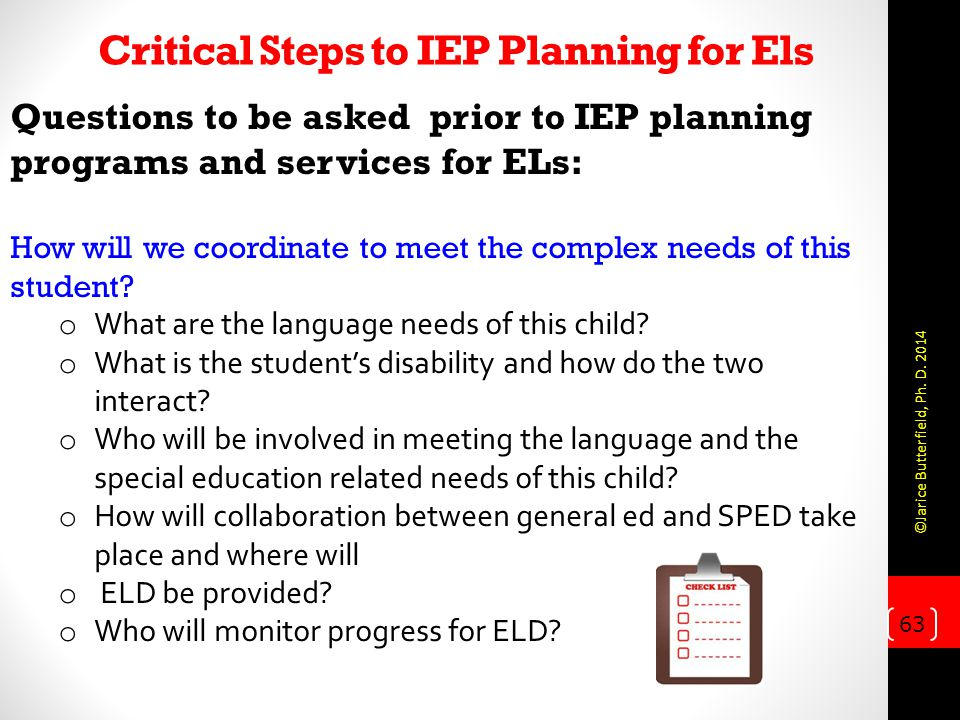 Critical Steps to IEP Planning for Els