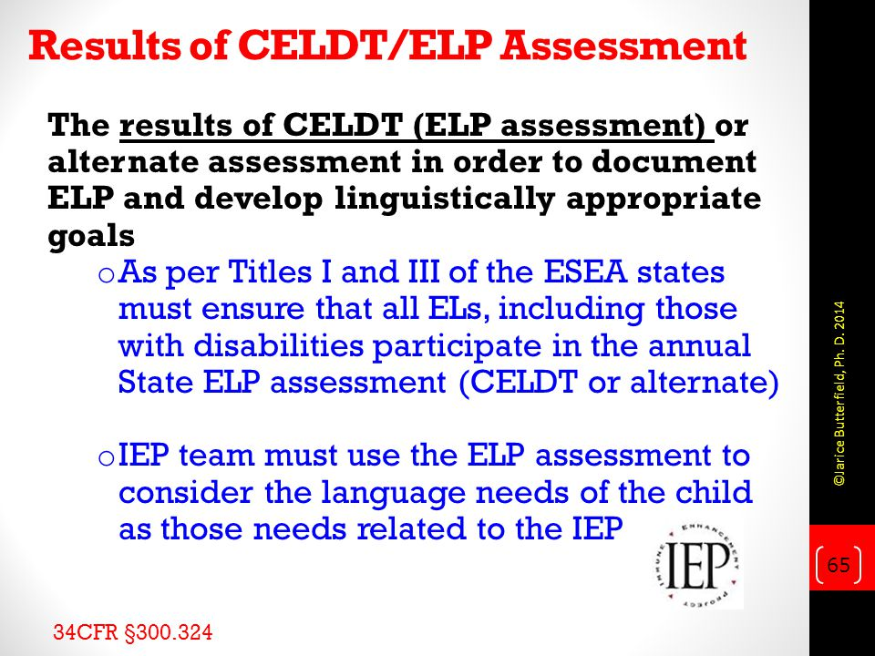 Results of CELDT/ELP Assessment