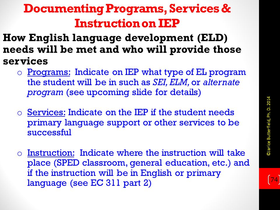 Documenting Programs, Services & Instruction on IEP