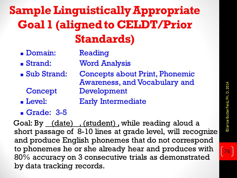 Sample Linguistically Appropriate Goal 1 (aligned to CELDT/Prior Standards)