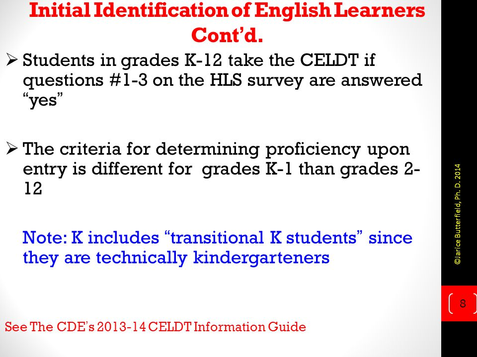 Initial Identification of English Learners Cont'd.