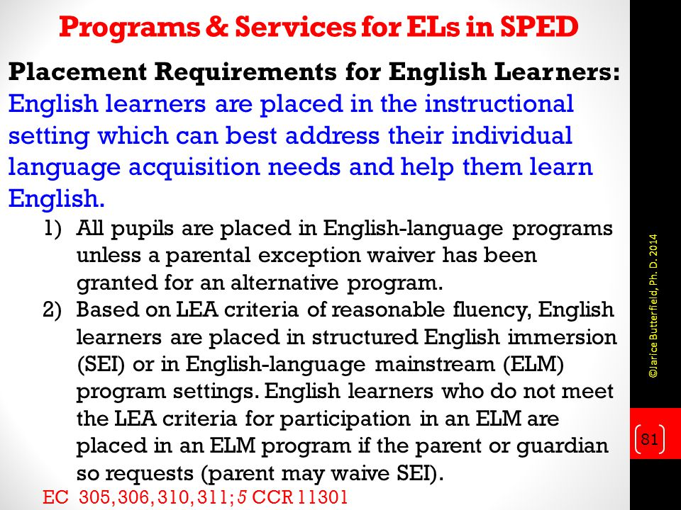 Programs & Services for ELs in SPED