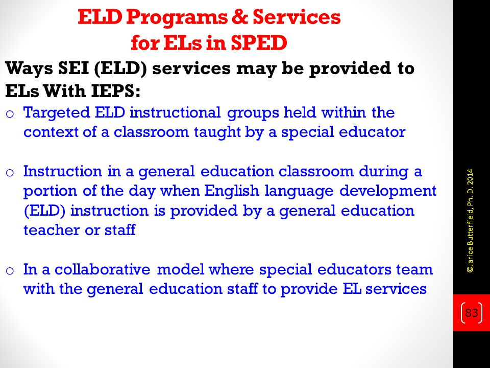 ELD Programs & Services for ELs in SPED