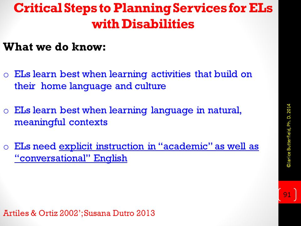 Critical Steps to Planning Services for ELs with Disabilities