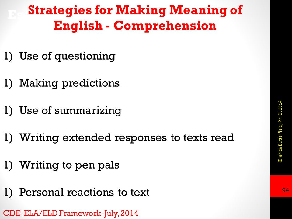Strategies for Making Meaning of English - Comprehension