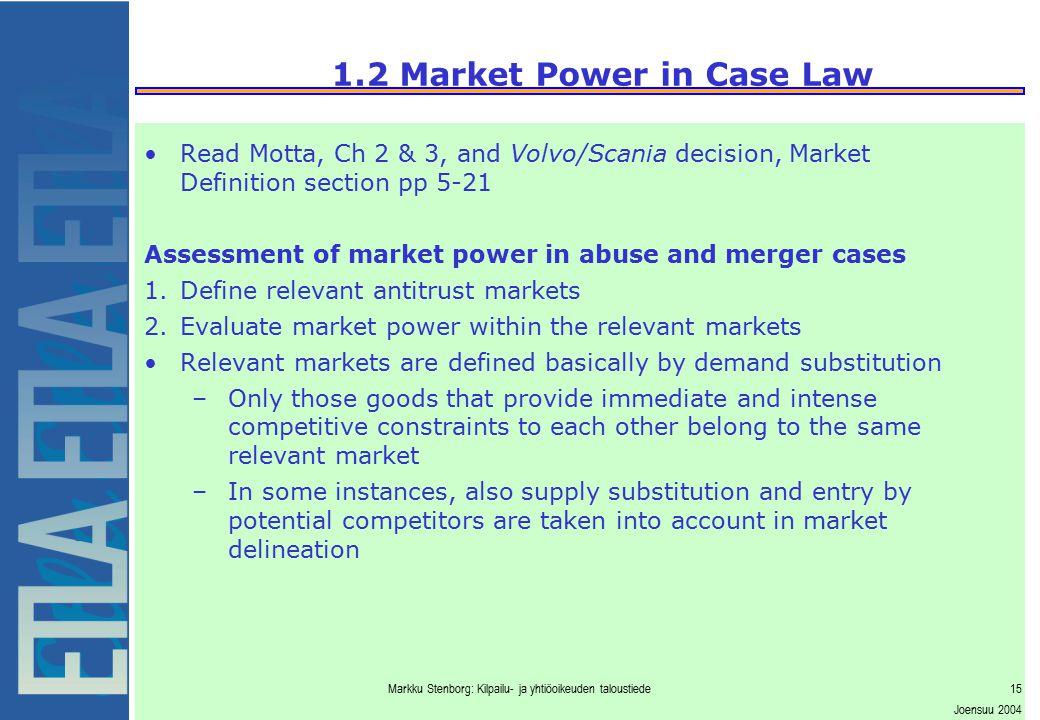 1.2 Market Power in Case Law