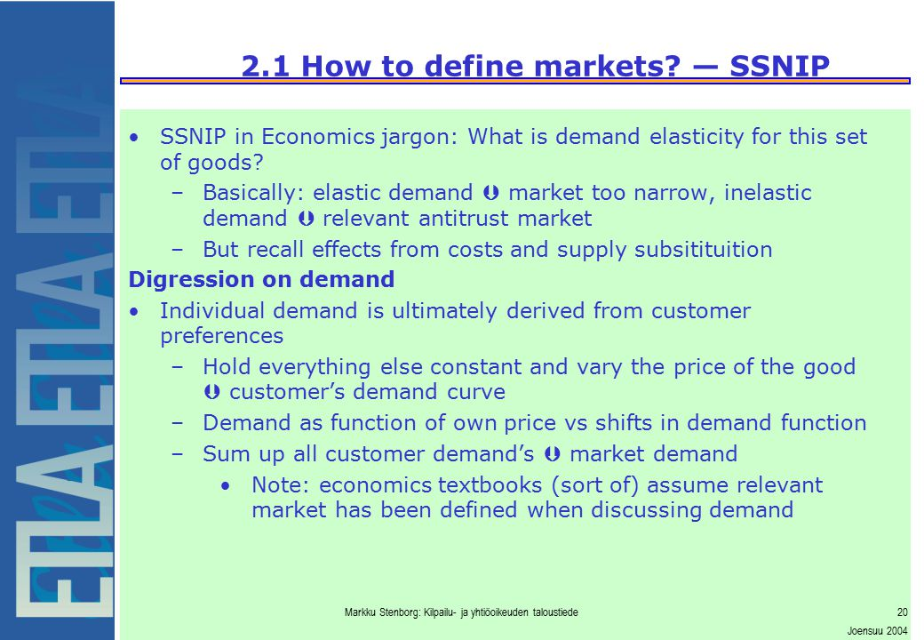 2.1 How to define markets — SSNIP