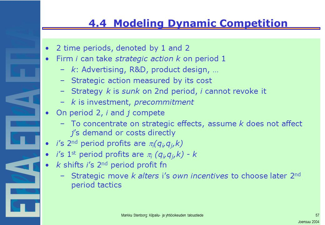 4.4 Modeling Dynamic Competition