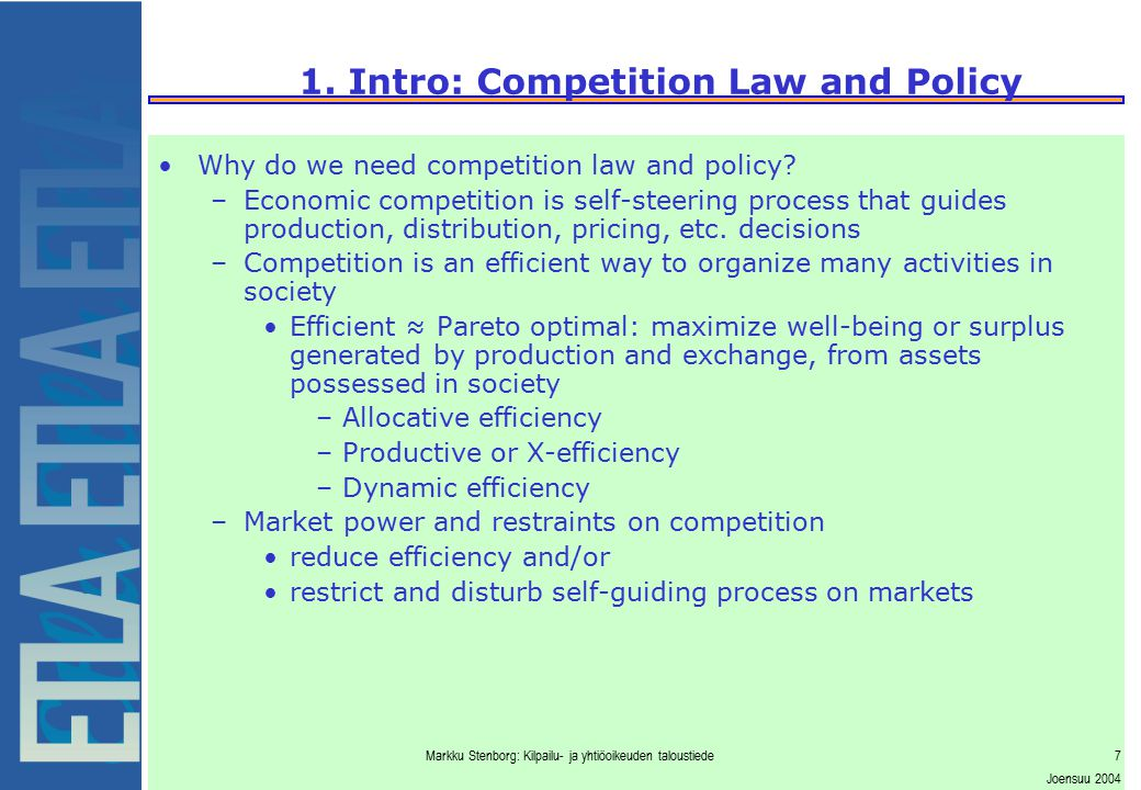 1. Intro: Competition Law and Policy