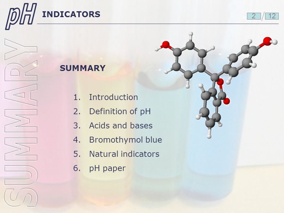 pH SUMMARY INDICATORS SUMMARY 1. 2. 3. 4. 5. 6. Introduction