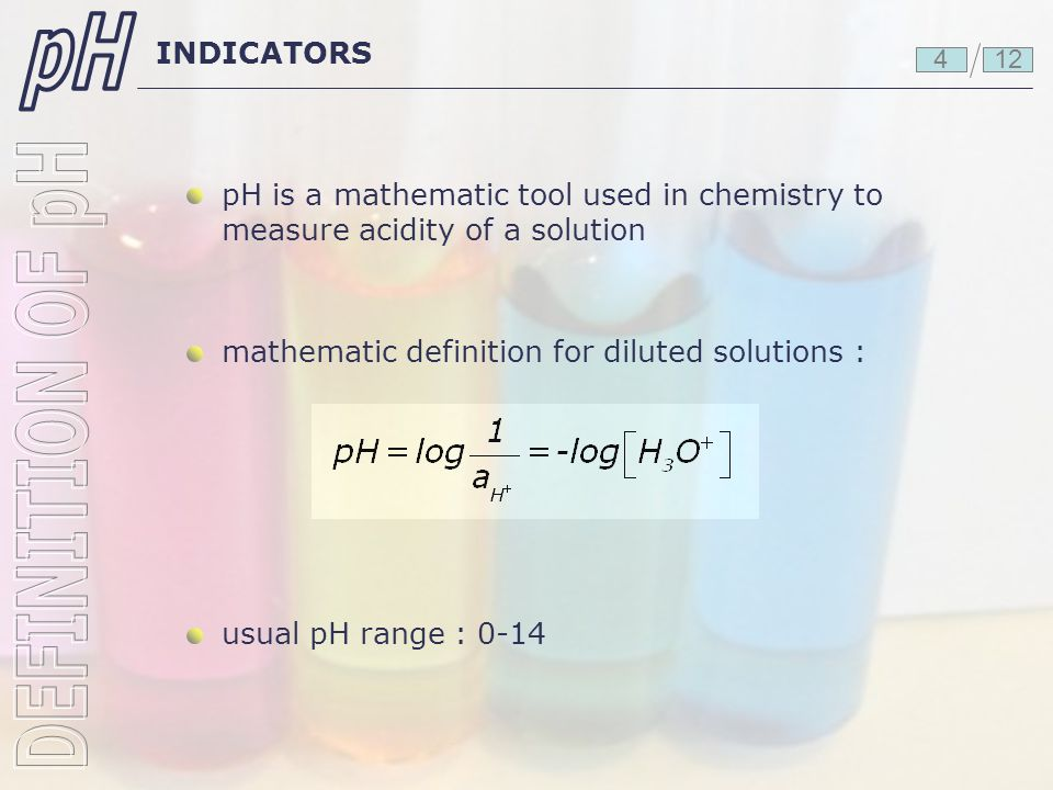pH DEFINITION OF pH INDICATORS