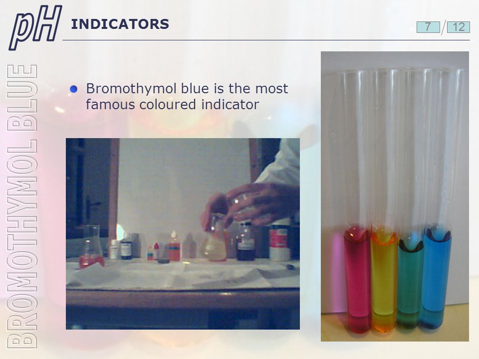pH BROMOTHYMOL BLUE INDICATORS