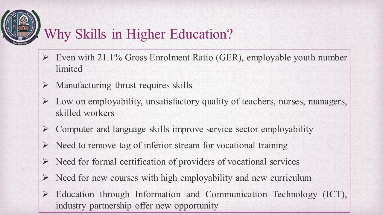 Why Skills in Higher Education