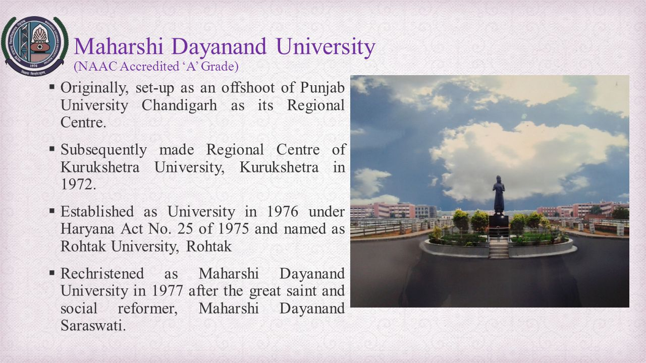 Maharshi Dayanand University (NAAC Accredited 'A' Grade)