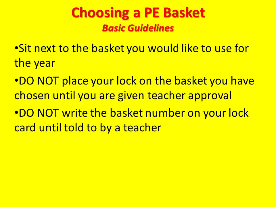Choosing a PE Basket Basic Guidelines