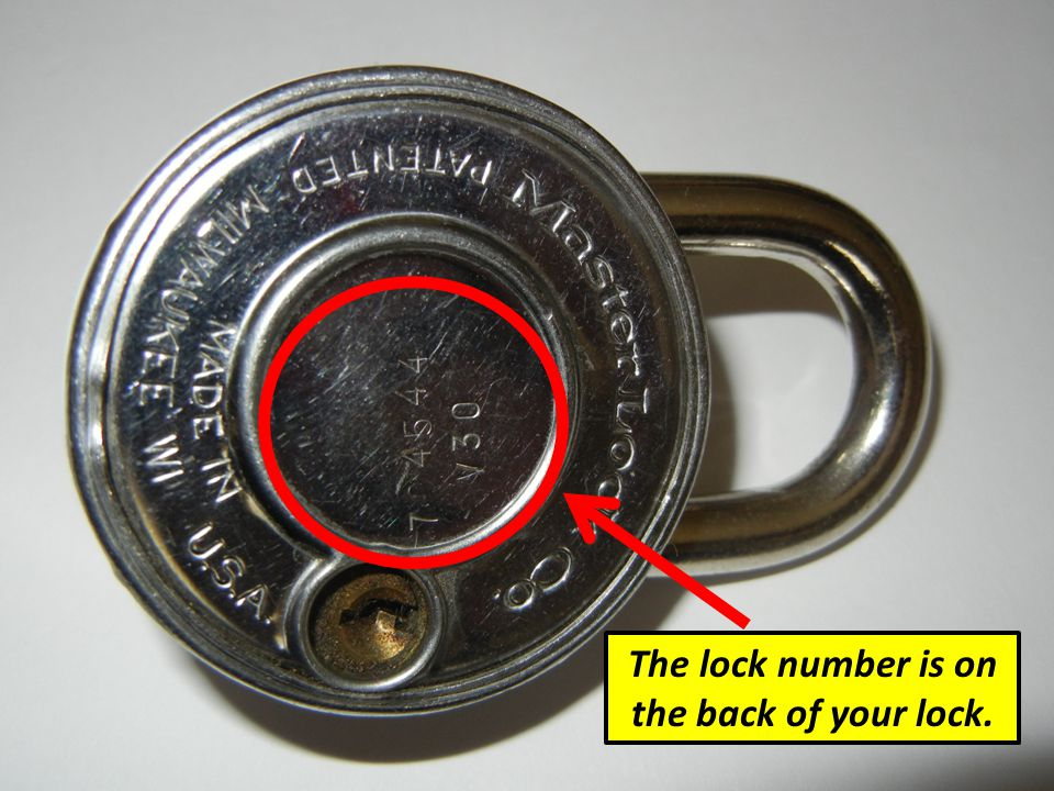 The lock number is on the back of your lock.