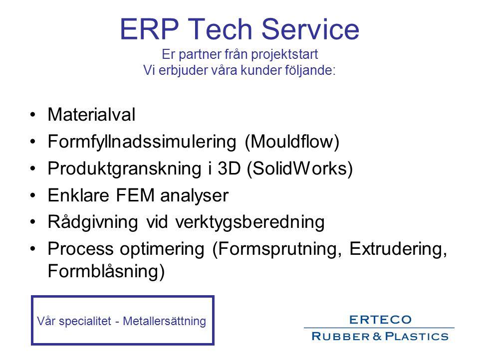 ERP Tech Service Er partner från projektstart Vi erbjuder våra kunder följande: