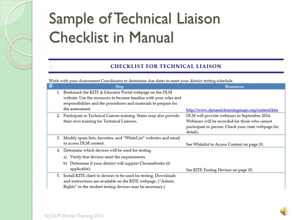 Sample of Technical Liaison Checklist in Manual