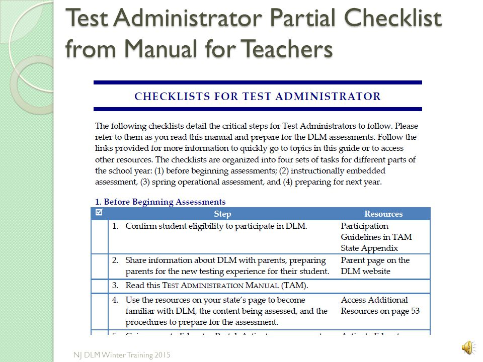 Test Administrator Partial Checklist from Manual for Teachers