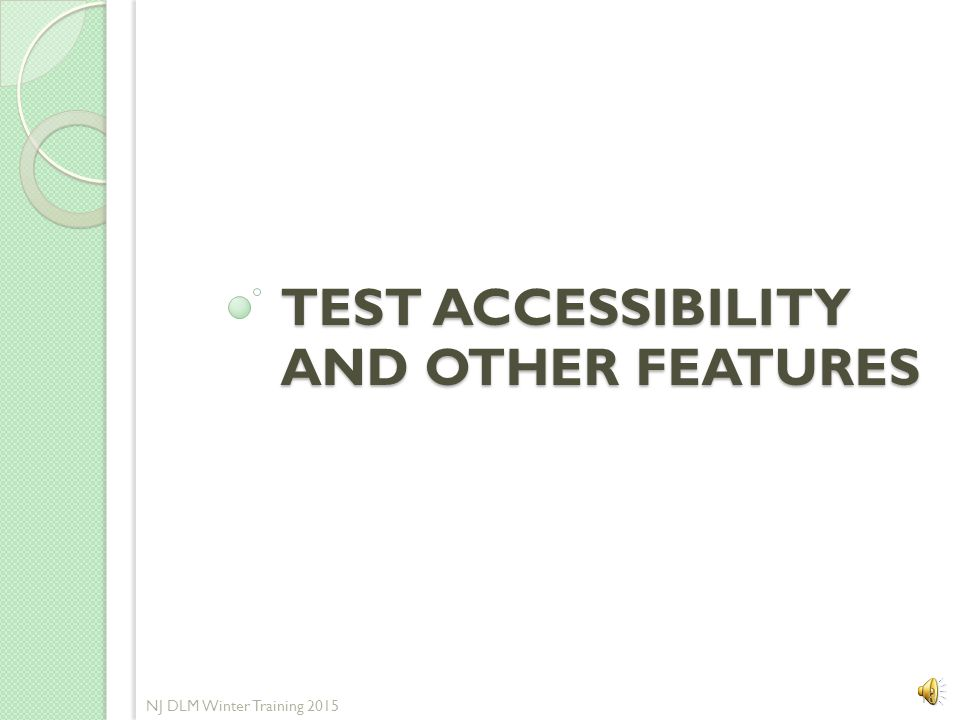 Test Accessibility and other features