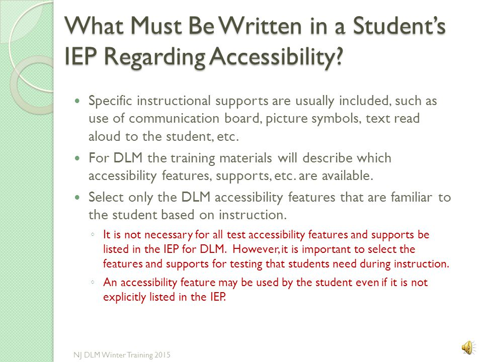What Must Be Written in a Student's IEP Regarding Accessibility