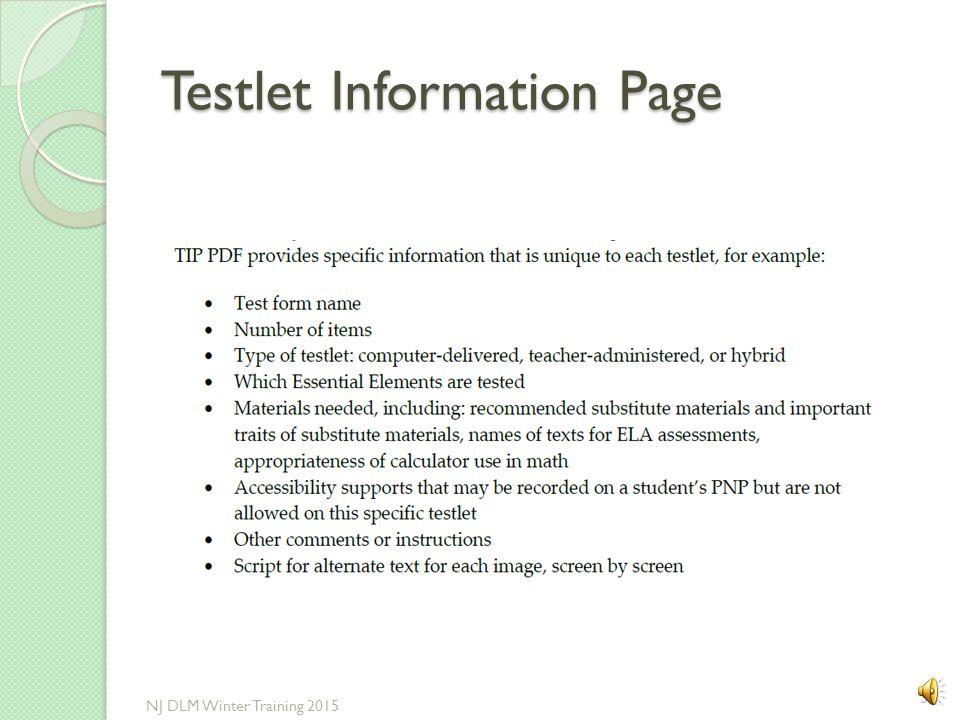 Testlet Information Page
