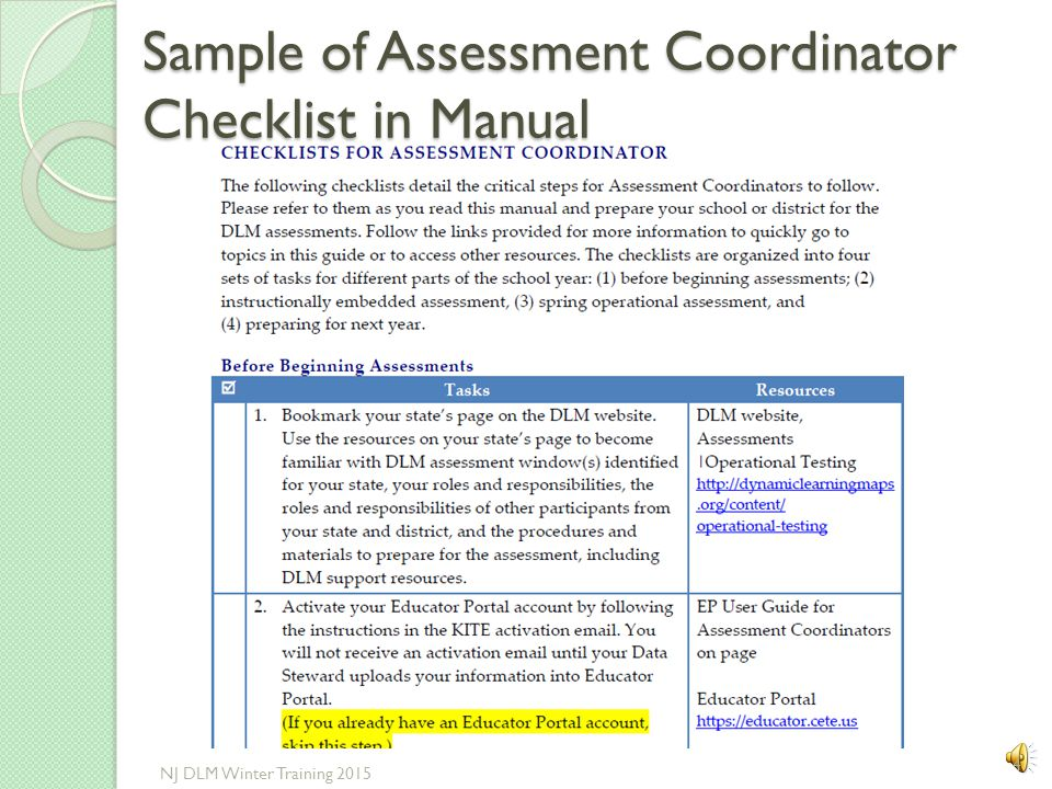 Sample of Assessment Coordinator Checklist in Manual