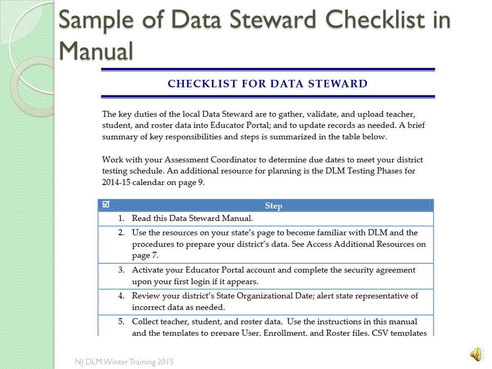 Sample of Data Steward Checklist in Manual