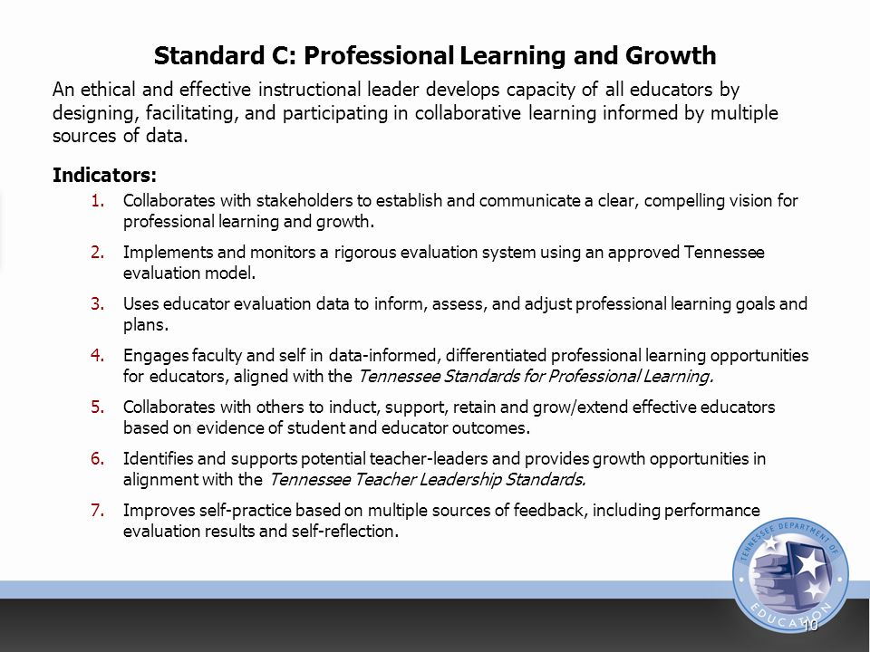 Standard C: Professional Learning and Growth