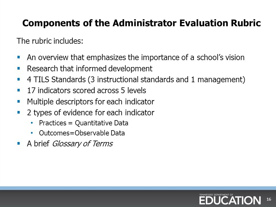 Components of the Administrator Evaluation Rubric