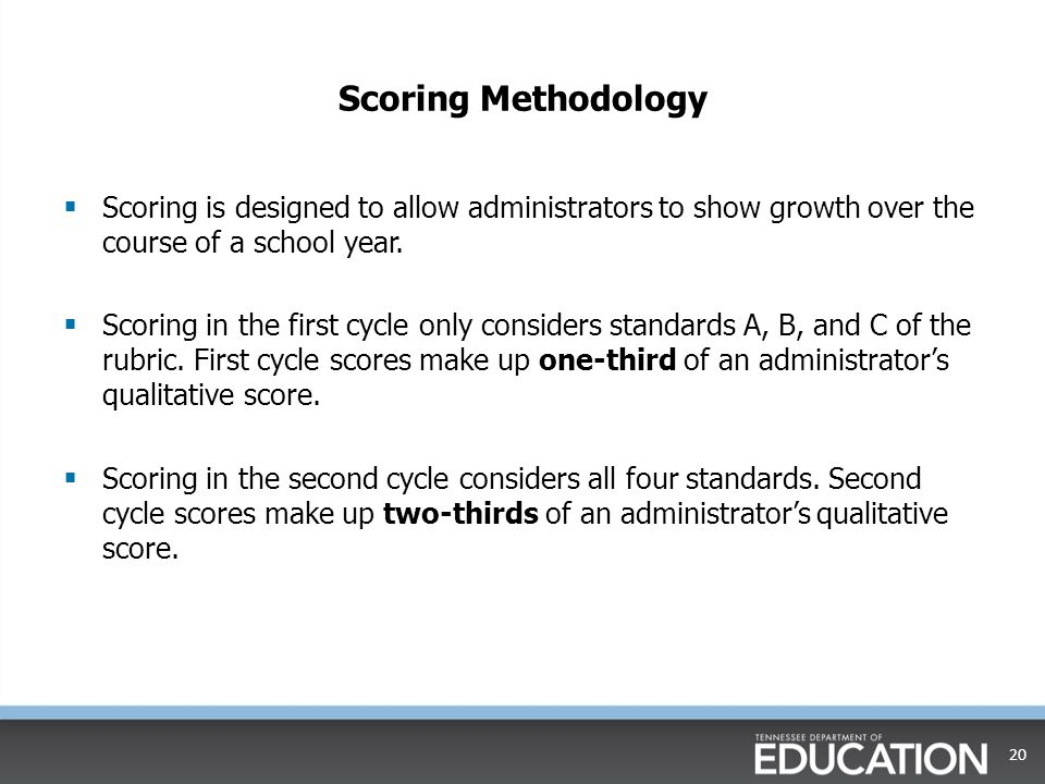 Scoring Methodology Scoring is designed to allow administrators to show growth over the course of a school year.