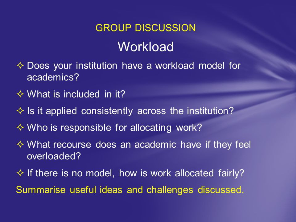 Workload GROUP DISCUSSION