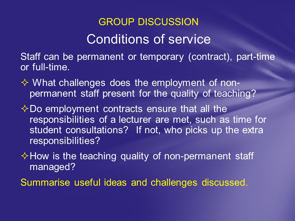 Conditions of service GROUP DISCUSSION