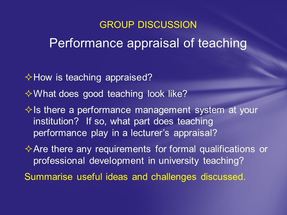 Performance appraisal of teaching