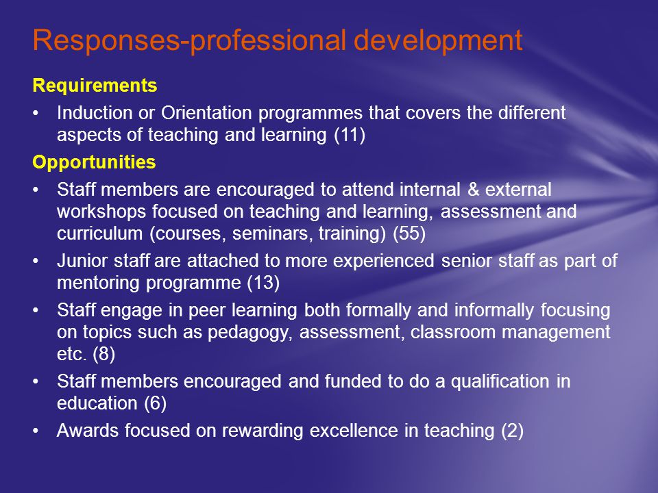 Responses-professional development