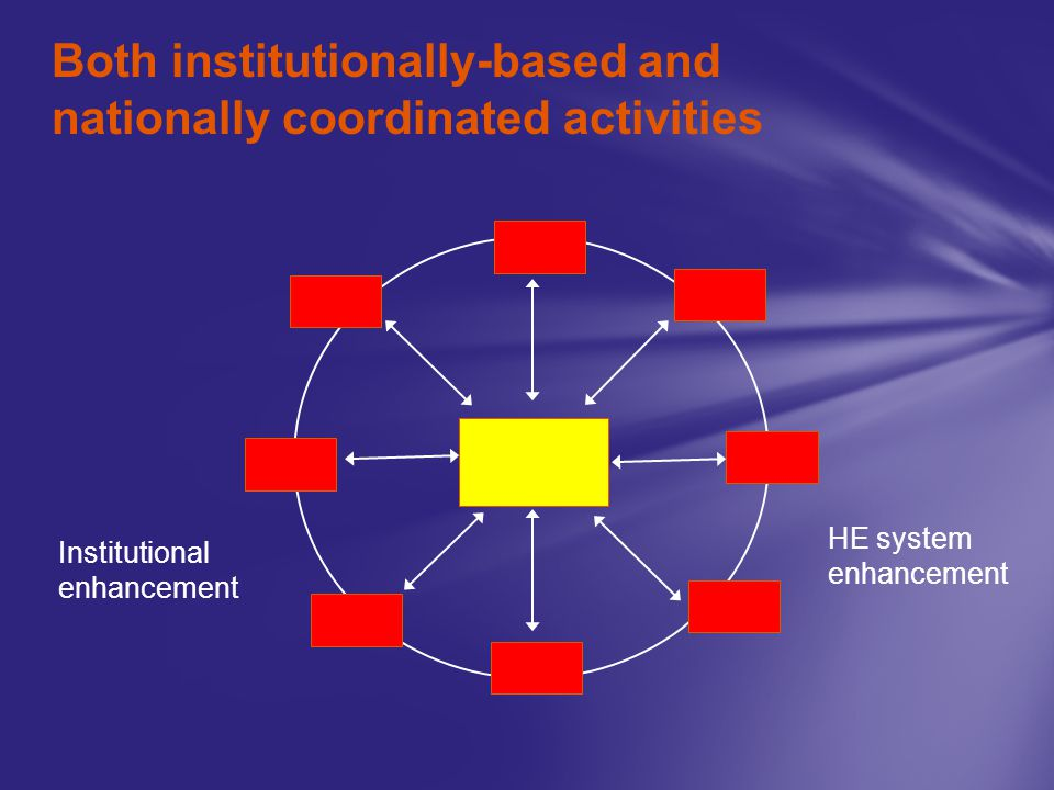 Both institutionally-based and nationally coordinated activities