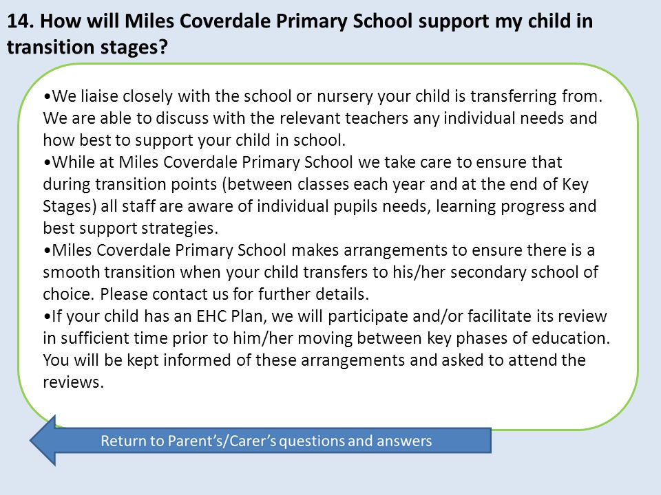 14. How will Miles Coverdale Primary School support my child in