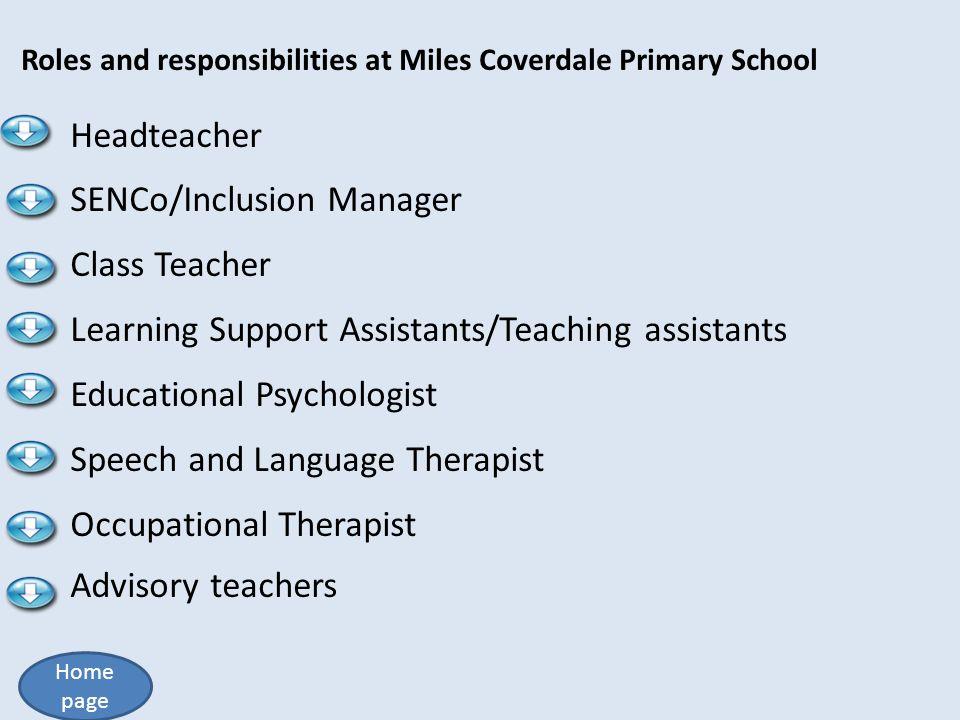 SENCo/Inclusion Manager Class Teacher