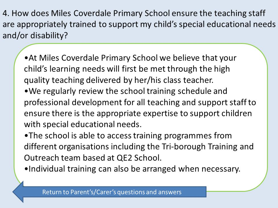 4. How does Miles Coverdale Primary School ensure the teaching staff