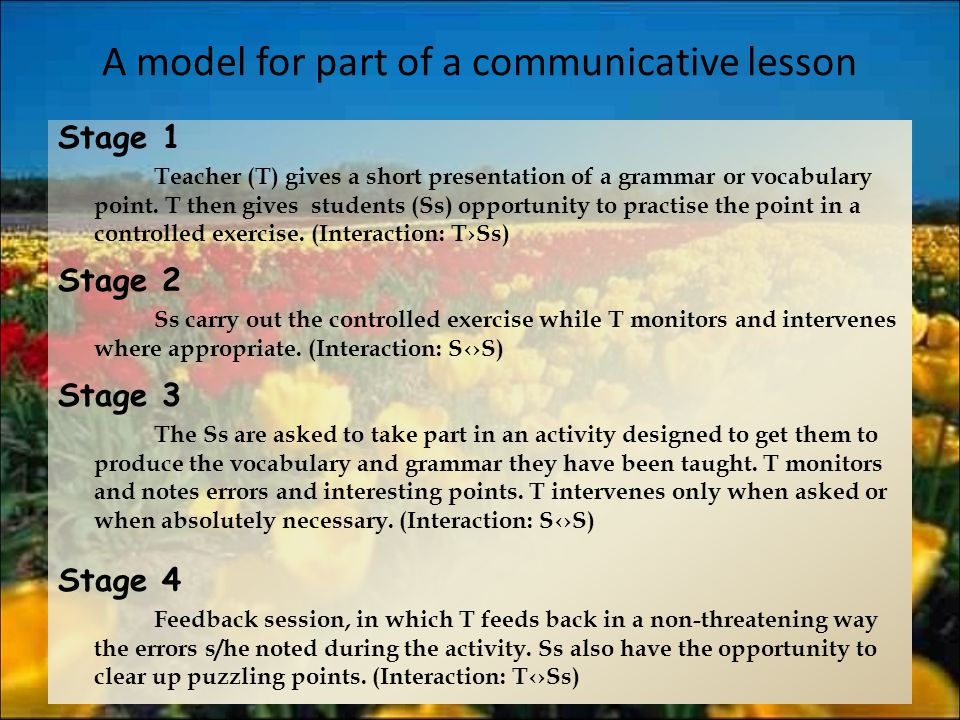A model for part of a communicative lesson