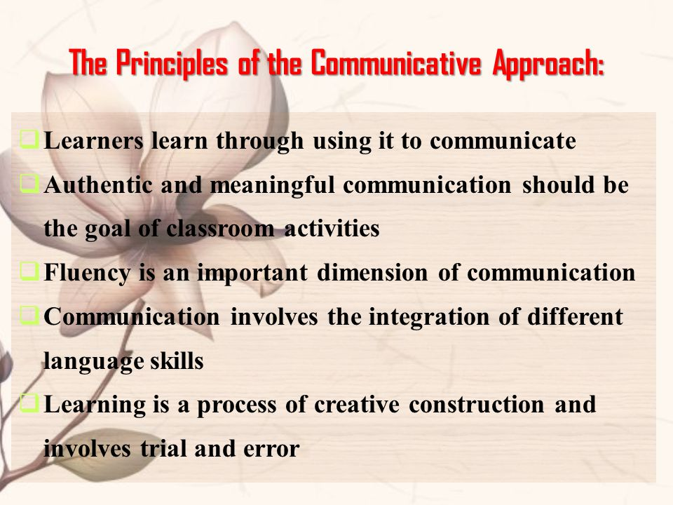 The Principles of the Communicative Approach: